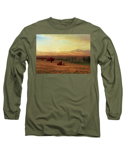 Buffalo On The Plains Long Sleeve T-Shirt by MotionAge Designs