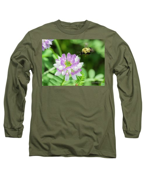 Bumble Bee Pollinating A Flower Long Sleeve T-Shirt by Ricky L Jones