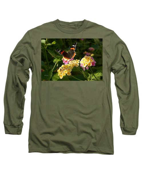 Busy Butterfly Side 2 Long Sleeve T-Shirt by Felipe Adan Lerma