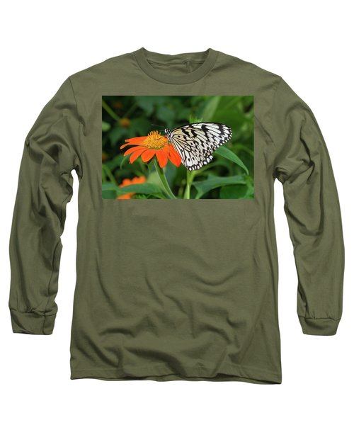 Butterfly On Flower Long Sleeve T-Shirt by Hans Engbers