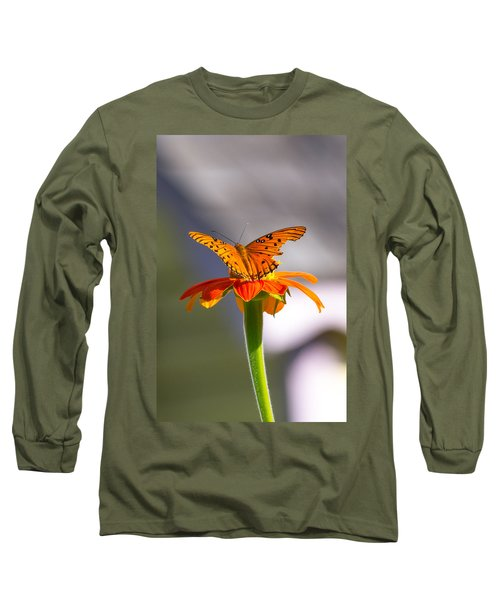 Butterfly On Flower Long Sleeve T-Shirt