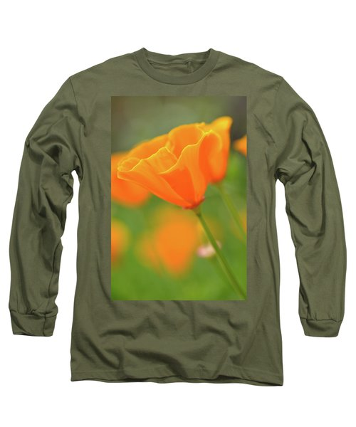 California Spring Poppy Macro Close Up Long Sleeve T-Shirt