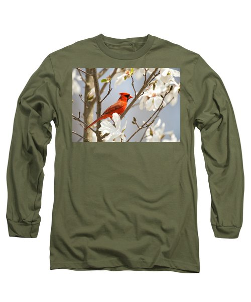 Long Sleeve T-Shirt featuring the photograph Cardinal In Magnolia by Angel Cher
