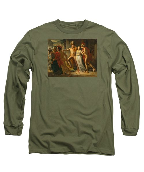Long Sleeve T-Shirt featuring the painting Castor And Pollux Rescuing Helen by Jean-Bruno Gassies