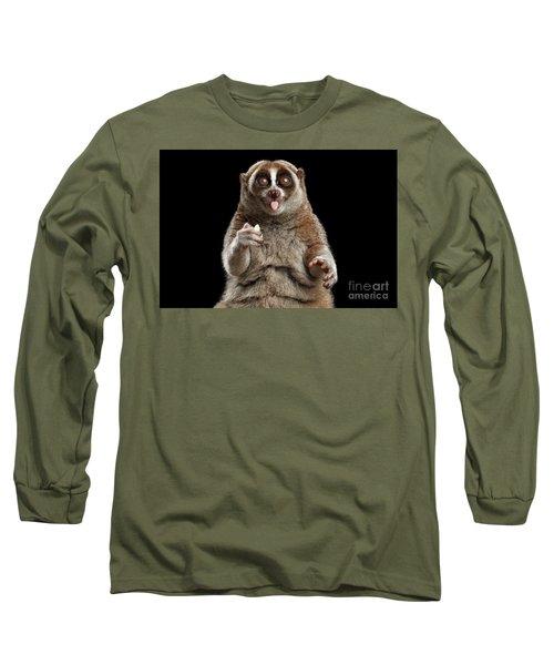 Close-up Lemur Slow Loris Isolated Black Background Long Sleeve T-Shirt