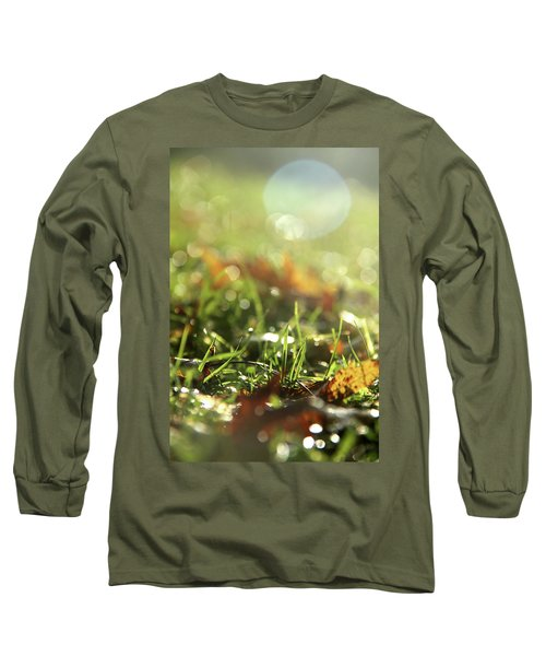 Close-up Of Dry Leaves On Grass, In A Sunny, Humid Autumn Morning Long Sleeve T-Shirt