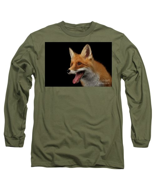 Closeup Portrait Of Smiled Red Fox Isolated On Black  Long Sleeve T-Shirt by Sergey Taran