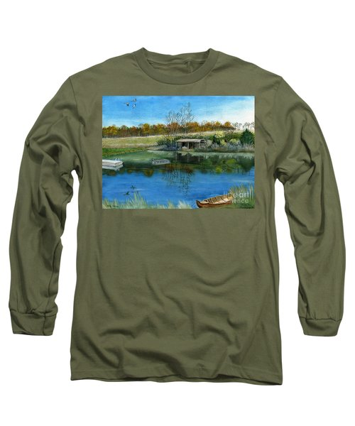 Long Sleeve T-Shirt featuring the painting Cole Hill Pond by Melly Terpening