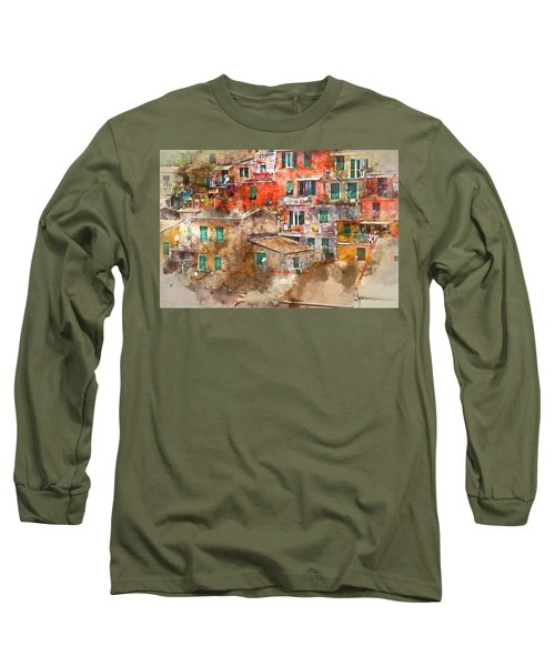 Colorful Homes In Cinque Terre Italy Long Sleeve T-Shirt