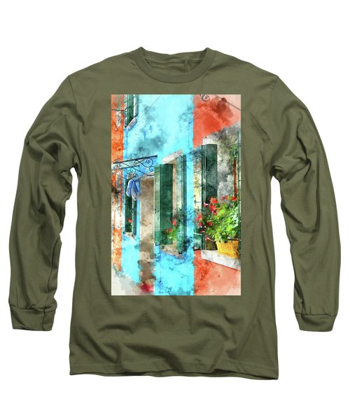 Colorful Houses In Burano Island Venice Italy Long Sleeve T-Shirt