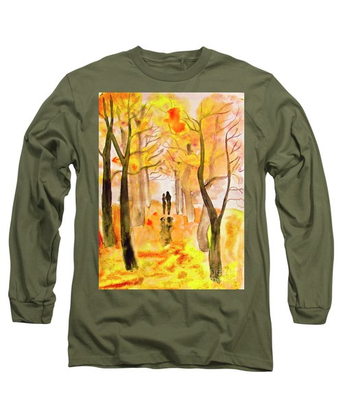 Couple On Autumn Alley, Painting Long Sleeve T-Shirt by Irina Afonskaya