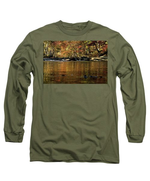Creek Water Flowing Through Woods In Autumn Long Sleeve T-Shirt