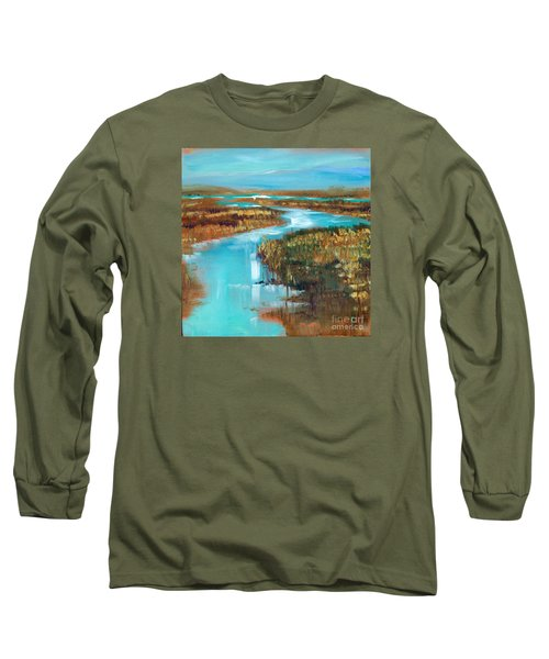 Curve In The Waterway Long Sleeve T-Shirt by Linda Olsen