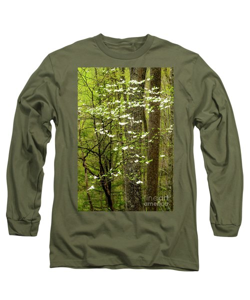 Dogwood Blooming In Forest Long Sleeve T-Shirt
