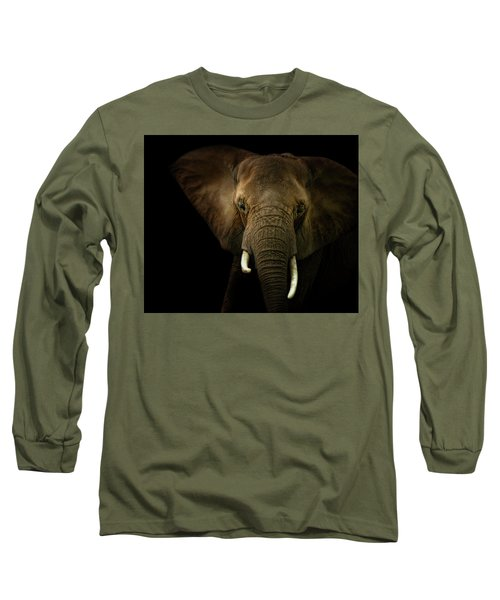 Elephant Against Black Background Long Sleeve T-Shirt by James Larkin