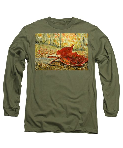 Fallen Leaf  Long Sleeve T-Shirt by Betty-Anne McDonald