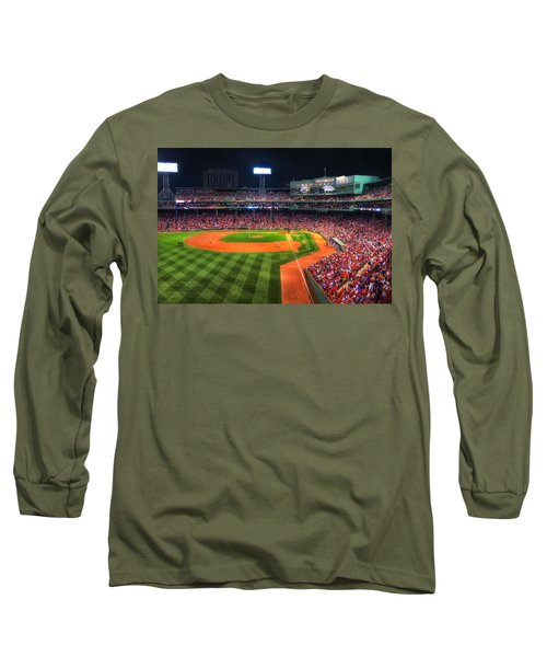 Fenway Park At Night - Boston Long Sleeve T-Shirt by Joann Vitali