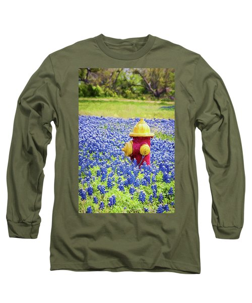 Fire Hydrant In The Bluebonnets Long Sleeve T-Shirt