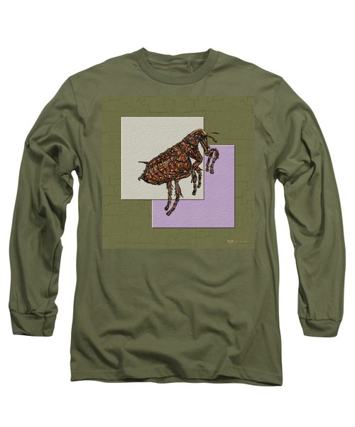 Flea On Abstract Beige Lavender And Dark Khaki Long Sleeve T-Shirt by Serge Averbukh