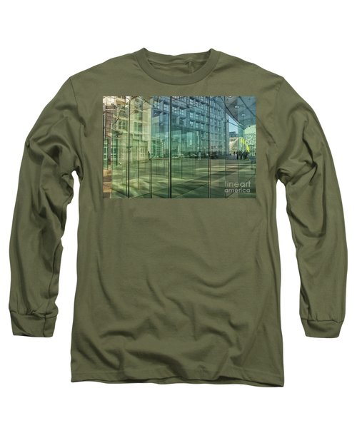 Long Sleeve T-Shirt featuring the photograph Glass Panels At Le Grande Arche by Patricia Hofmeester