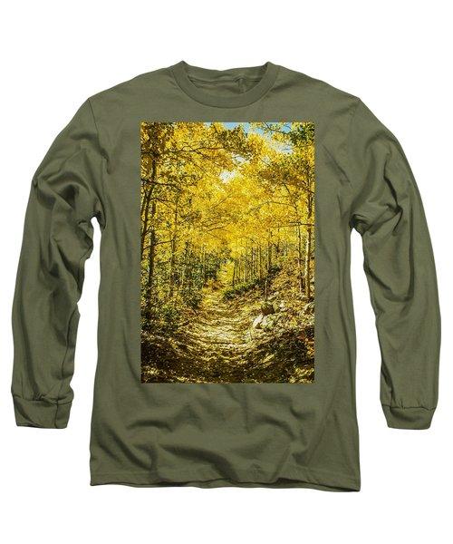 Golden Aspens In Colorado Mountains Long Sleeve T-Shirt