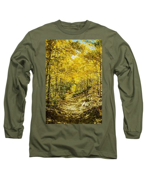 Golden Aspens In Colorado Mountains Long Sleeve T-Shirt