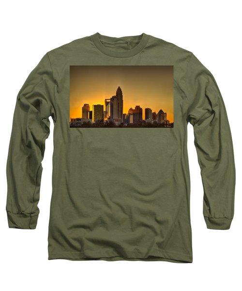 Golden Charlotte Skyline Long Sleeve T-Shirt by Alex Grichenko