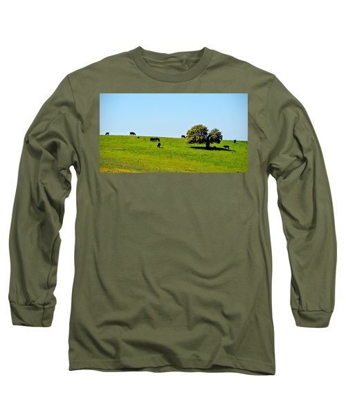 Long Sleeve T-Shirt featuring the photograph Grazing In The Grass by AJ Schibig