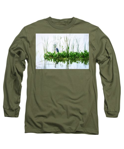 Great Blue On Green Island Long Sleeve T-Shirt
