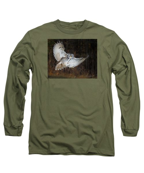 Great Horned Owl Long Sleeve T-Shirt by CR Courson