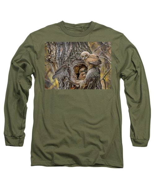 Great Horned Owlets In A Nest Long Sleeve T-Shirt