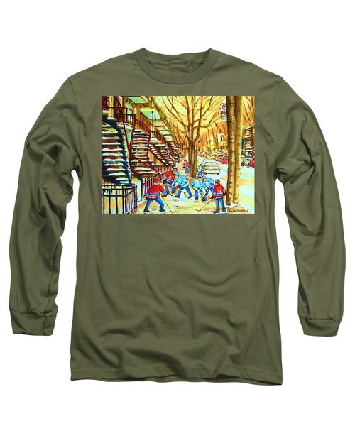 Hockey Game Near Winding Staircases Long Sleeve T-Shirt by Carole Spandau