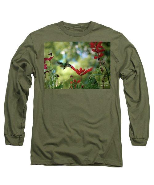 Hummingbird Delight Long Sleeve T-Shirt by Sue Stefanowicz