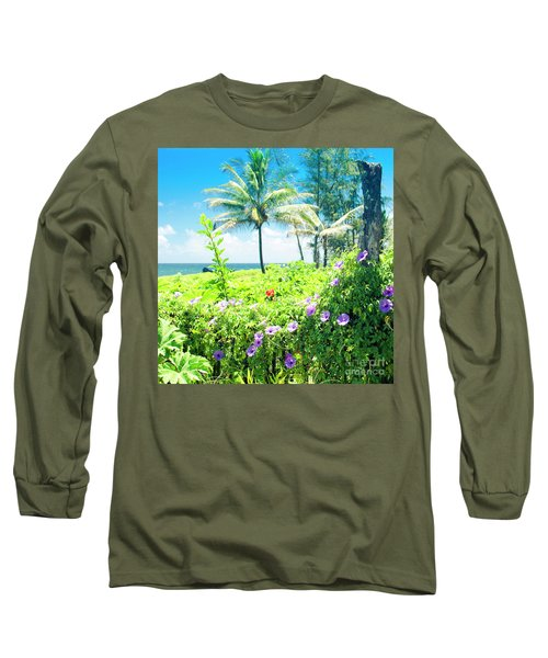 Long Sleeve T-Shirt featuring the photograph Ipomoea Keanae Morning Glory Maui Hawaii by Sharon Mau