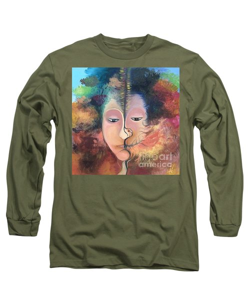 Long Sleeve T-Shirt featuring the painting La Fille Foret by Art Ina Pavelescu