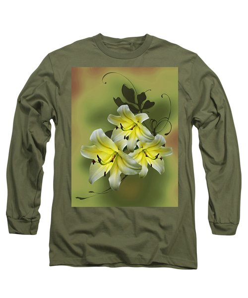 Long Sleeve T-Shirt featuring the photograph Lily Trio by Judy Johnson