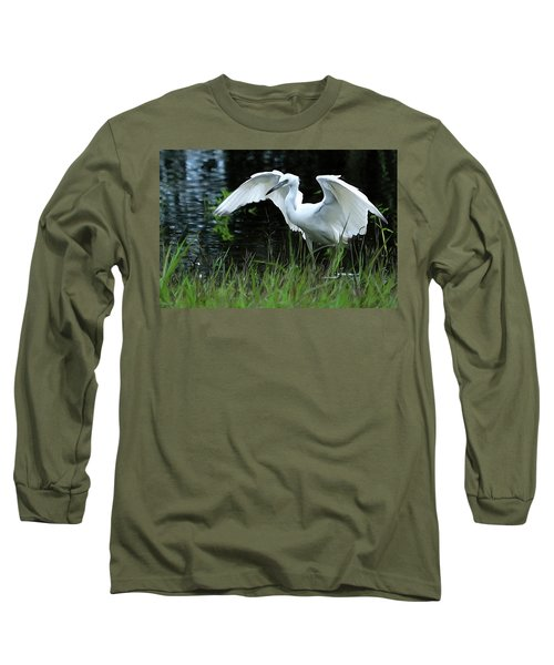 Little Blue Heron Hunting - Digitalart Long Sleeve T-Shirt