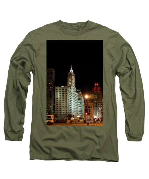 Looking North On Michigan Avenue At Wrigley Building Long Sleeve T-Shirt