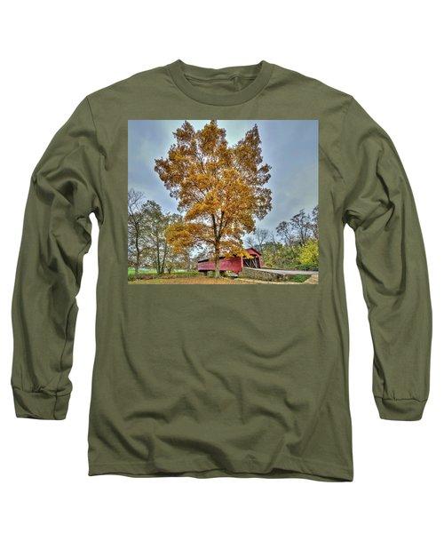 Maryland Covered Bridge In Autumn Long Sleeve T-Shirt