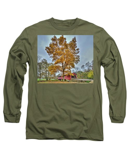 Maryland Covered Bridge In Autumn Long Sleeve T-Shirt