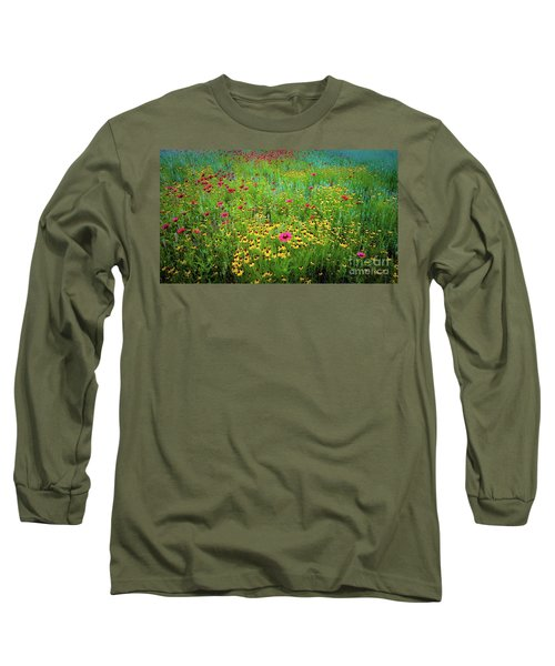 Mixed Wildflowers In Bloom Long Sleeve T-Shirt