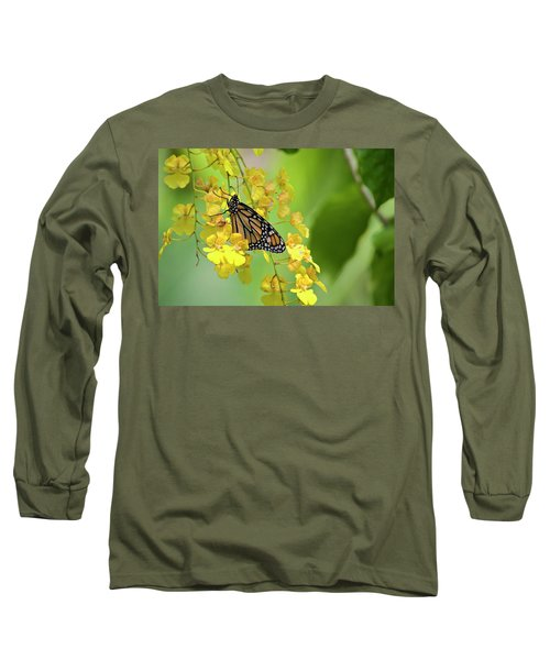 Monarch Butterfly On Yellow Orchids Long Sleeve T-Shirt