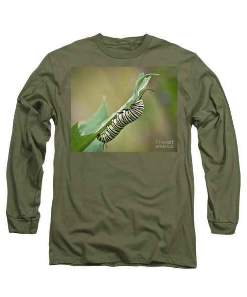Long Sleeve T-Shirt featuring the photograph Monarch Caterpillar by Kerri Farley