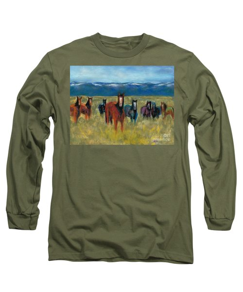 Mustangs In Southern Colorado Long Sleeve T-Shirt
