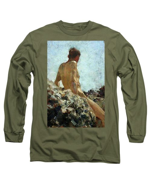 Long Sleeve T-Shirt featuring the painting Nude Study by Henry Scott Tuke