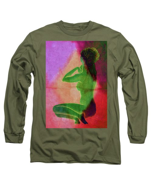 Nude Woman Long Sleeve T-Shirt by Svelby Art