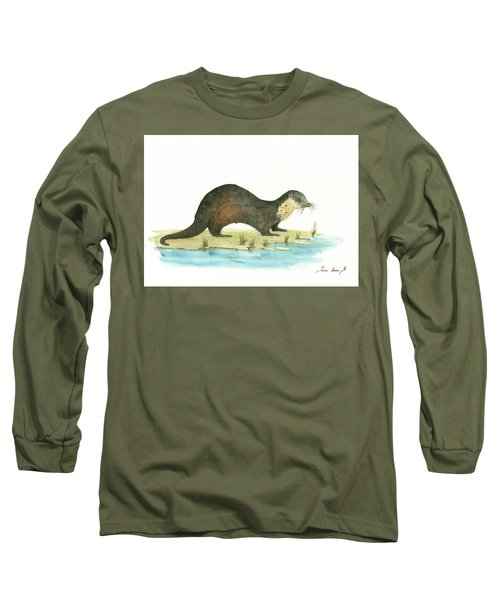 Otter Long Sleeve T-Shirt by Juan Bosco
