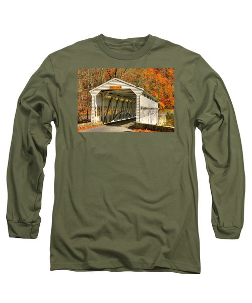 Pa Country Roads - Knox Covered Bridge Over Valley Creek No. 2a - Valley Forge Park Chester County Long Sleeve T-Shirt by Michael Mazaika