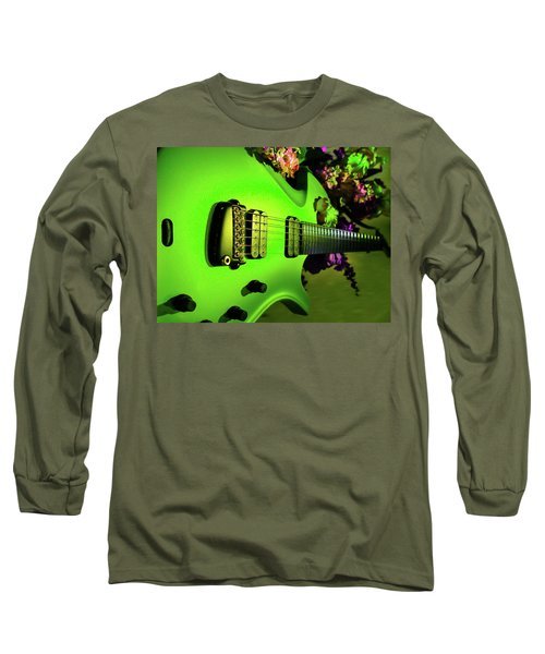 Long Sleeve T-Shirt featuring the digital art Parker Fly Guitar Hover Series by Guitar Wacky