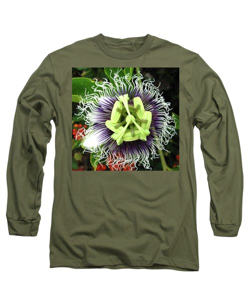 Passion Flower Long Sleeve T-Shirt by Mary Ellen Frazee